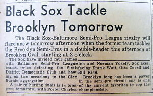 1939 newspaper with coverage of  BALTIMORE Black Sox NEGR0 baseball team