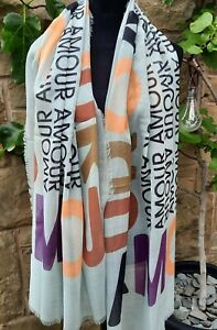 GREEN AMOUR LOVE PRINT SCARF BN
