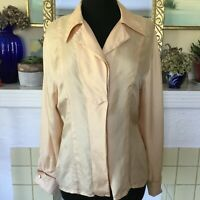 Karl Lagerfeld Vintage 90's Silk Blouse Pale Peach Large Top French Cuffs