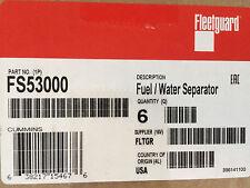 (CASE OF 6) FS53000 FLEETGUARD FUEL FILTER DODGE RAM 6.7 CUMMINS DIESEL FILTERS