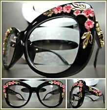 OVERSIZE VINTAGE RETRO Style Clear Lens EYE GLASSES Black Frame Gold Pink Floral