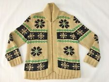 Vintage Hand Knit Heavy Wool Full Zip Front Cowichan Mary Maxim Sweater Sz Large