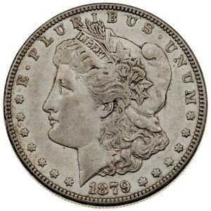 1879-S Rev of 1878 $1 Silver Morgan Dollar in AU Condition, Nice Eye Appeal