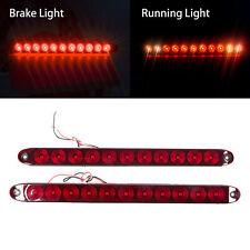 "2x Red 11 LED Stop Brake Turn Tail 15"" Truck Trailer Car Submersible light Bar"