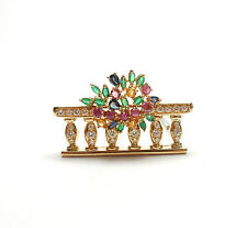 18ct Gold Brooch Emerald Ruby Sapphire Diamond set in yellow gold