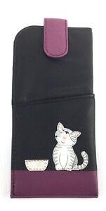 BLACK Leather Glasses Spectacles Case Pouch Ziggy Cat Cute Kitten MALA 5117 99