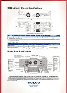 Specification Sheet ~ Volvo B10BLE - Driveline & Chassis Specs - Cab Layout 1997