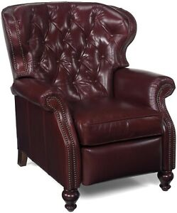 OCCASIONAL CHAIR BROWN LEATHER TUFTED WINGS WOOD NAILHEAD HAND-CRAFTED USA