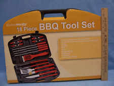 18 Piece BBQ Barbecue Grilling Cooking Utensils Tool Set Hard Case Tongs Knife