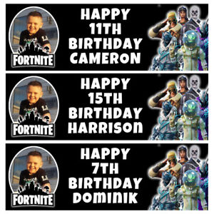 FORTNITE Photo Personalised Birthday Banner - EPIC Birthday Party Banner - 3x1Ft