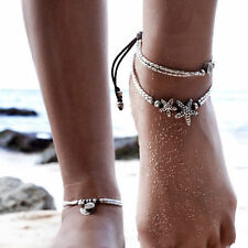 Barefoot Ankle Bracelet Foot Leg Chain Silver Starfish Women Retro Jewelry Charm