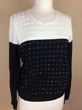 Gerry Weber Jumper, UK 12, Black & Off White, Cotton Cashmere Blend, Beaded