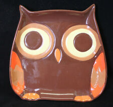 """Mesa Home Products Ceramic Owl Serving PLATE Brown Owl Orange Wing 8"""" x 8"""""""