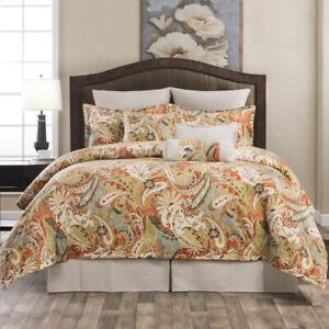 Orange Ivory & Grey Classic Paisley Bedding Set Comforter Skirt Shams Add Pillow