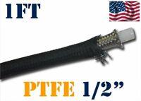 "1/2"" 12MM NYLON STAINLESS STEEL BRAIDED PTFE ETHANOL E85 FUEL HOSE LINE 1FT"