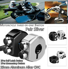 "Pair 25MM 1"" CNC Switch Motorcycle 3 Buttons Self Latch & Momentary Buttons"