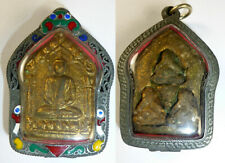 LP TIM GOLDEN PHRA KHUN PAEN PHRA PIDTA BUDDHA AMULET SUPERB ENAMEL CASE
