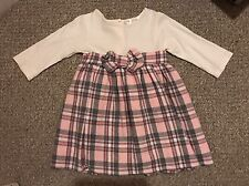 Girls Age 12-18 Months Pink Grey And Cream Bow Christmas Party Dress