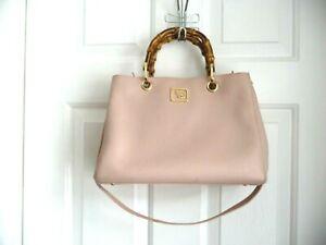 Emma Fox JUNO SATCHEL Pretty Blush Pink Genuine Leather Bamboo Handles Convertib