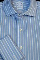 Brooks Brothers Men's Blue White Stripe Egyptian Cotton Dress Shirt 15.5 x 34