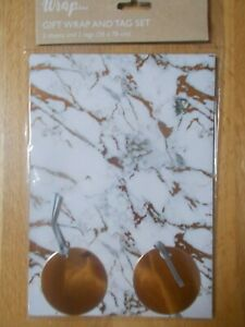 GOLD MARBLE & WHITE GIFT WRAP AND TAG SET - 2 SHEETS & 2 TAGS
