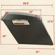 "5"" BLACK HARD SADDLEBAGS TRUNK W/LID & LATCH COVER KIT HARLEY ROAD KING 94-13"