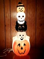 HTF Halloween BlowMold Totem Stack Pumpkin Cat Skull & Ghost Lighted Plastic 32""