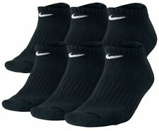 $49 Nike Men 6 Pair Pack Athletic No-Show Socks Black Cushion Cotton Shoe 8-12 L