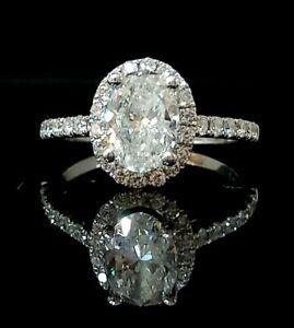 1.95 ct Oval Diamond Halo Set Engagement Ring,Hallmarked 750