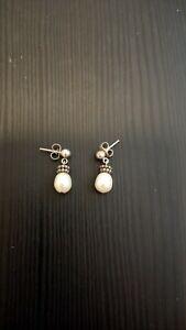 Michael Dawkins 925 Sterling Silver & Pearl drop Earrings EUC granulation pretty