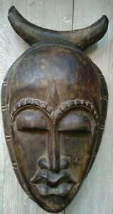 "AFRICAN TRIBAL HAND CARVED Dark WOODEN Demon Horned MASK 13"" H MAN CAVE Fast Del"