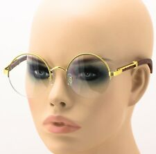 Men Women Vintage Gold Eyeglass Frame Plain Glass Clear Half-Rim Spectacles NEW