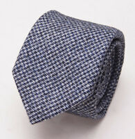 New $225 BATTISTI NAPOLI Slim Heather Gray-Blue Houndstooth Wool Tie w/ Gift Box