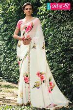White Pink Designer Printed Border Bollywood Sari Georgette Party Wear Saree