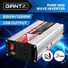 Giantz Power Inverter 12V to 240V 600W/1200W Pure Sine Wave Camping Caravan Boat