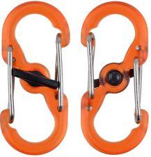 Nite Ize Mini S-Biner Microlock Polycarbobate 2 Pack Orange LSBPM-19T-2R3 *NEW*