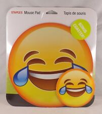 Staples Mouse Pad & Bonus Coaster - New - Crying Tears Emoji