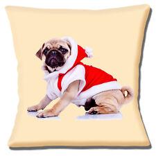 NUOVO Carino Fawn Pug indossare SANTA CAPPOTTO ROSSO NATALE FOTO 16 Cuscino Coprire