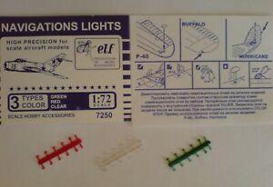 1:72 ELF #F7250 Navigation lights: Green, red, clear, 12x3 pcs. NEU, OVP