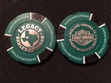 Harley Davidson Poker Chip (Green & Black) Legacy Midland-Odessa, Texas