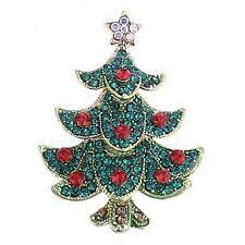 Festive Christmas Jewelled Christmas Tree Enamel Brooch/ Pin Great Gift
