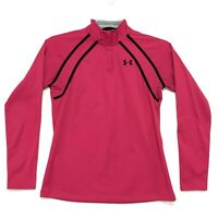 Under Armour Mock Zip Neck Pullover Shirt Sz S Dark Pink Black Accents LS