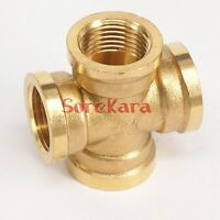 "Cross 4 Ways Brass Pipe fitting Coupler Connector Equal Female 1/2"" 3/4"" BSP"