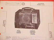 1954 VOCATRON WIRELESS INTERCOM SERVICE SHOP REPAIR MANUAL BROCHURE MODEL CC-45