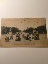 Old Postcard 1900's Paris France Antique Cars Transportation Ave Des Champs