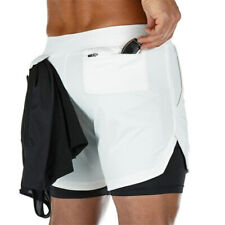 Mens Shorts 2In1 Double Quick Dry Men Sport Gym Fitness Running Jogging Workout