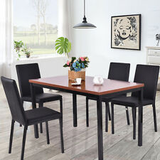 5 PCS Dining Table Set 4 PU Leather Chairs Home Kitchen Breakfast Furniture  New