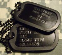 US ARMY PERSONALIZED BLACK DOG TAGS. SILENCERS. FREE SHIPPING!