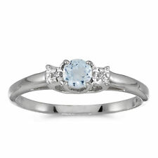 14k White Gold Round Aquamarine And Diamond Ring