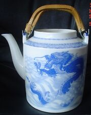 Superb Large Oriental Teapot Tea Pot Dragon Koi Goldfish Blue And White